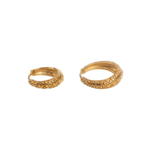 E2157 Gold Big and Small Crossed Hoop Earring Gold Plated