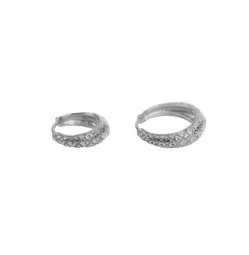 E2157 Silver Big and Small Crossed Hoop Earring Silver