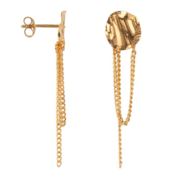 E2158 Gold Folded Medium Round Chain Stud Earring Gold Plated