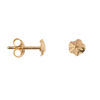 E2159 Gold Folded Round Mini Stud Earring Gold Plated
