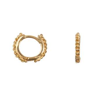 E2161 Gold Chain Hoop Click Earring Gold Plated