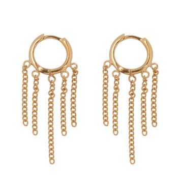 E2162 Gold Hoop 5 Chains Click Earring Gold Plated