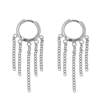 E2162 Silver Hoop 5 Chains Click Earring Silver