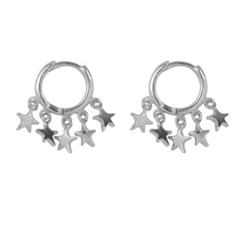 E2163 Silver Hoop 5 Stars Click Earring Silver