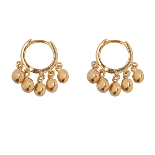E2164 Gold Hoop 5 Coins Click Earring Gold Plated