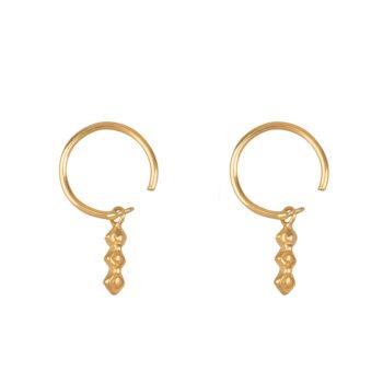 E2165 Gold Retro Dangling Blocks Ring Earring Gold Plated