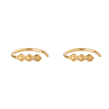 E2167 Gold Retro Blocks Ring Earring Gold Plated