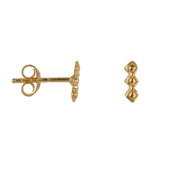 E2168 Gold Retro Blocks Stud Earring Gold Plated