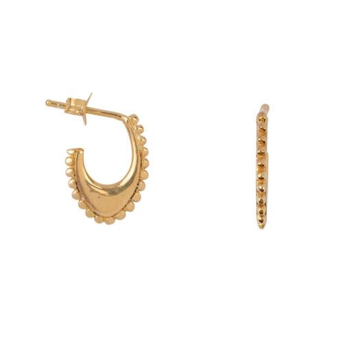 E2169 Gold Dotted Half Oval Stud Earring Gold Plated