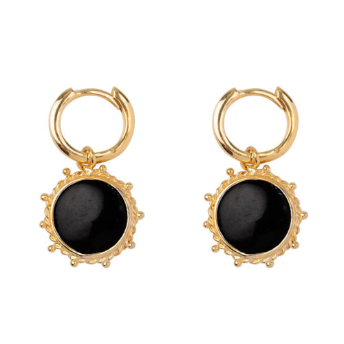 E2171 Gold Black Round Dotted Small Hoop Earring Gold Plated