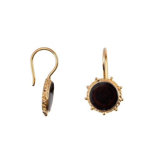 E2172 Gold Black Round Dotted Hook Earring Gold Plated