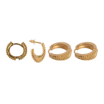 E2173 Gold Mix and Match 1 Dotted Rings Gold Plated (4 pieces)