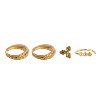 E2174 Gold Mix and Match 2 Retro Crossed Rings Gold Plated (4 pieces)