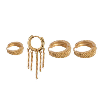 E2175 Gold Mix and Match 3 Dotted Rings Gold Plated (4 pieces)