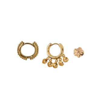 E2178 Gold Mix and Match 6 Coins and Dots Mix Gold Plated (3 pieces)