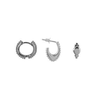 E2179 Silver Mix and Match 7 Dots Mix Silver (3 pieces)