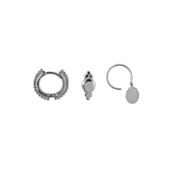 E2180 Silver Mix and Match 8 Dots Mix Silver (3 pieces)