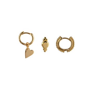 E2181 Gold Mix and Match 9 Heart and Dots Mix Gold Plated (3 pieces)